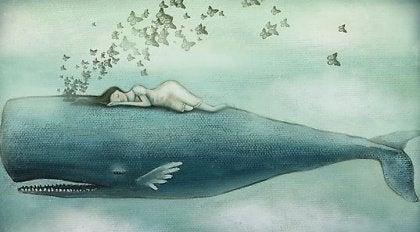 Kobieta na wielorybie
