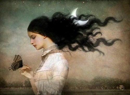 Kobieta z motylem - pożegnanie, odłączenie