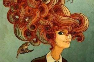 Kobieta z ptakiem