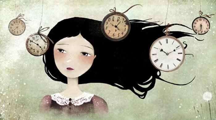 Dziewczyna otoczona przez zegary