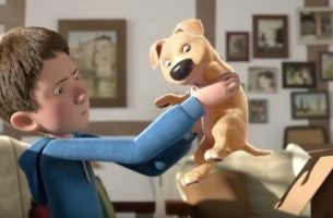 Film animowany: chłopiec i piesek
