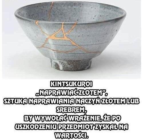 Naczynie sklejone techniką kintsukuroi