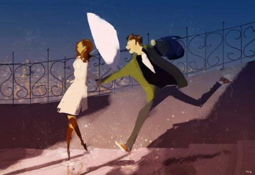 Para z parasolką