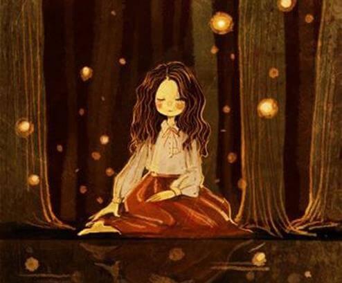 Medytująca dziewczyna w lesie