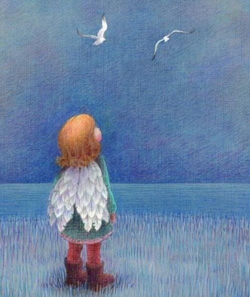 Dziewczynka patrzy na ptaki - skrzydła