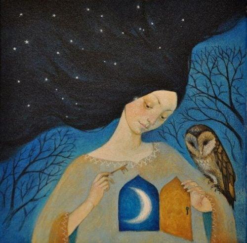Kobieta i sowa