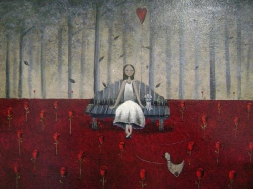 Rozstanie - kobieta w lesie