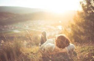 Dziewczyna na łące - spokojne życie