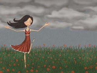 dziewczyna tańczy na łące