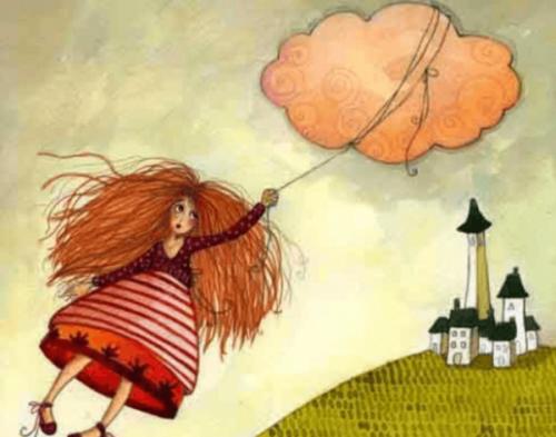 dziewczyna porwna przez balon z chmury - strefa komfortu