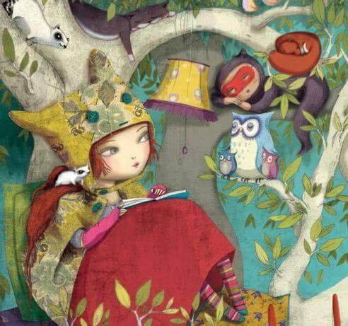 Dziewczyna czyta na drzewie