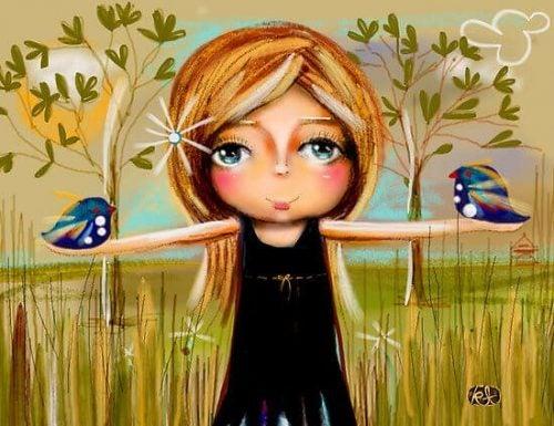 Dziewczynka z ptakami