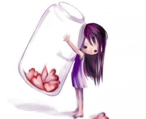 Dziewczynka z sercami w słoiku