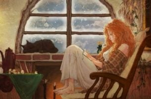 Kobieta czyta w fotelu - czytanie książki