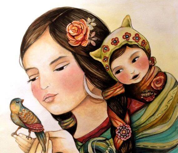 kobieta-ptak-dziecko