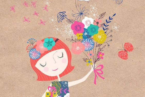 Kobieta z kwiatami w dłoni - uprzejmość