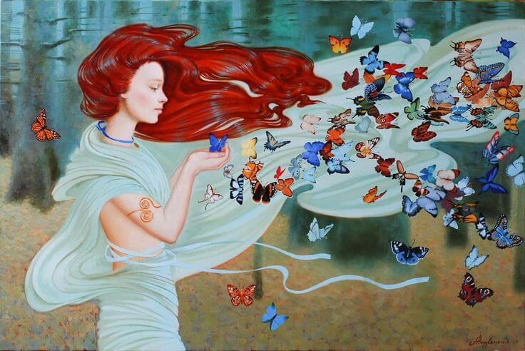 Kobieta na wietrze, z motylami