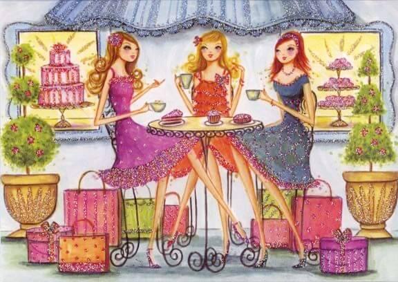 Koleżanki w kawiarni siedzące przy ciastkach - jedz