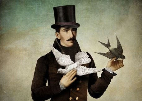 Mężczyzna z białym i czarnym gołębiem