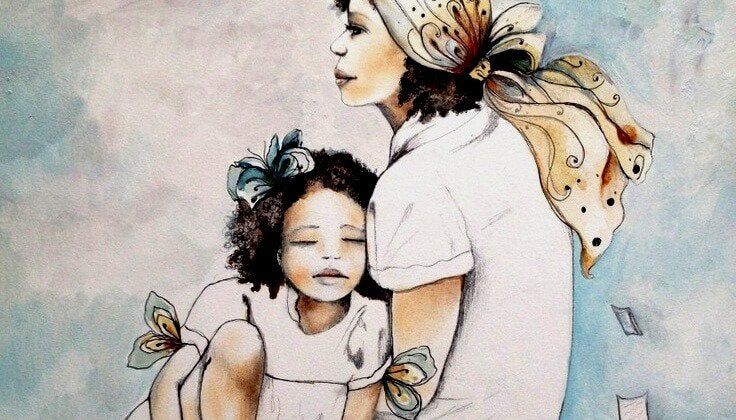 Mama przytulona z córką: inteligencja emocjonalna