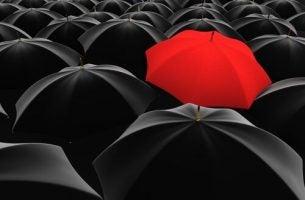 czerwony parasol - inna osobowość