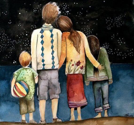 Rodzina z dwójka dzieci, stojąca tyłem