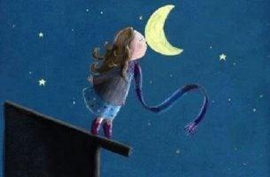 Dziewczynka na dachu całująca księżyc - wdzięczność