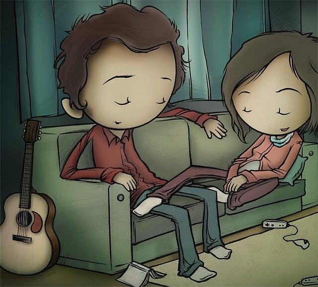 Para siedząca na sofie