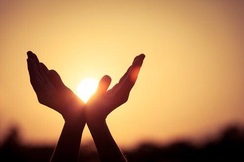 dłonie chwytające słońce