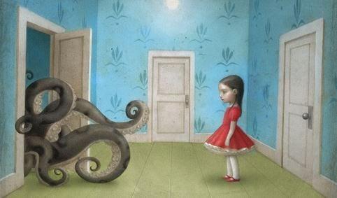 Dziewczynka patrząca na macki wychodzące zza drzwi