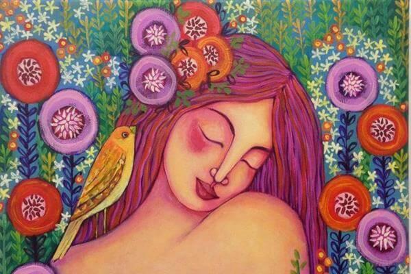kolorowy rysunek kobieta i kwiaty