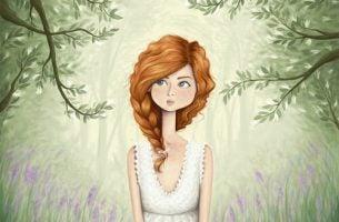 Kobieta w lesie - myśli