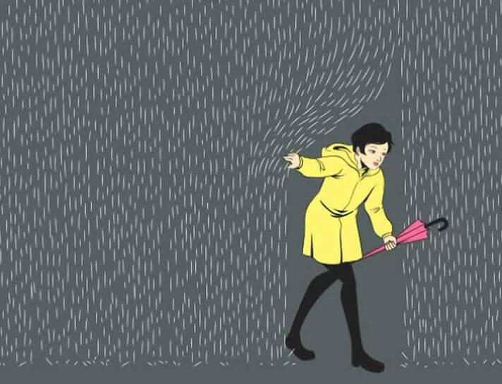 Kobeta w deszczu rzeczywstości