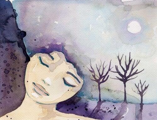 Kobieta las i księżyc