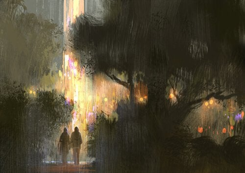 Para w parku podczas deszczu