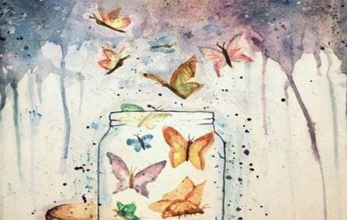 Słoik z motylami