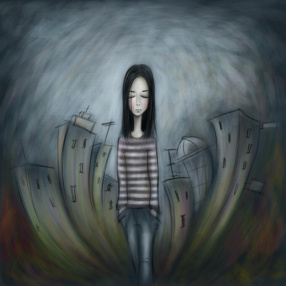 Samotna kobiet w ponurym mieście