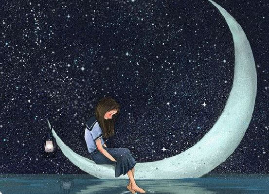 Smutna dziewczyna siedząca na księżycu