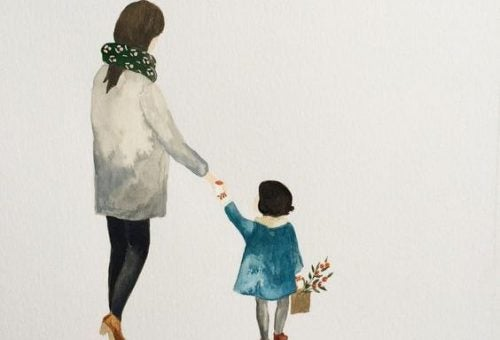 Matka z córką za rękę