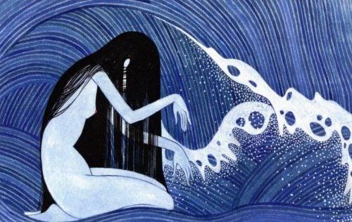 Kobiet i fale morskie - rysunek