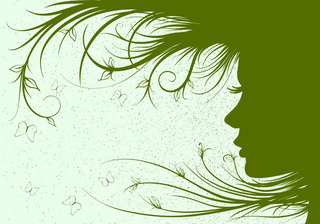 zielony profil dziewczyny