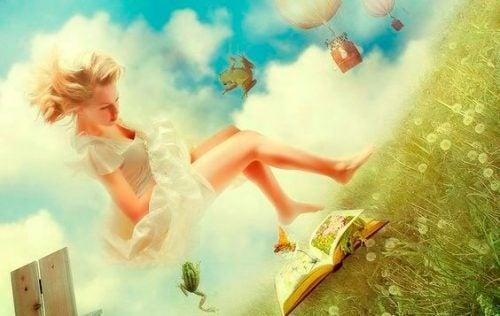 Wyimaginowany świat książki dziewczyna na łące