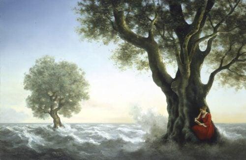 Kobieta za drzewem -depresja