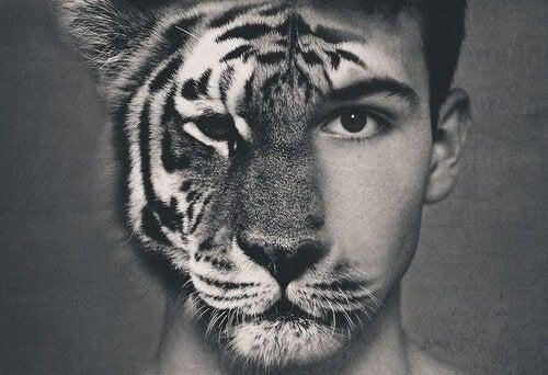 mężczyzna z twarzą tygrysa