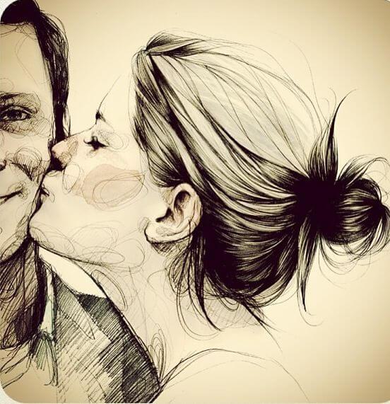 Kobieta całuje mężczyznę