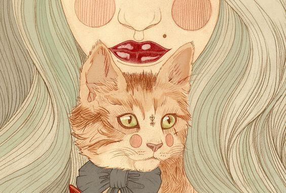 Kobieta z rudym kotem