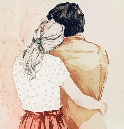 Dwoje przytulonych ludzi tyłem