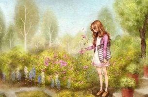 Dziewczyna zrywająca kwiaty - piękny czas