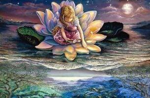 Dziewczynka na kwiecie lotosu