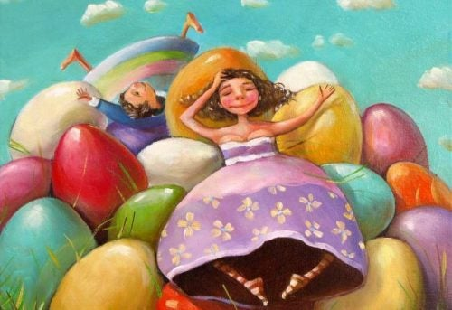 Dziewczynki z kolorowymi jajkami